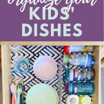 image of kids dishes drawer and text box