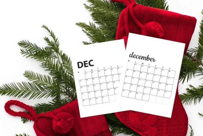 holiday greenery and red stockings with December calendars