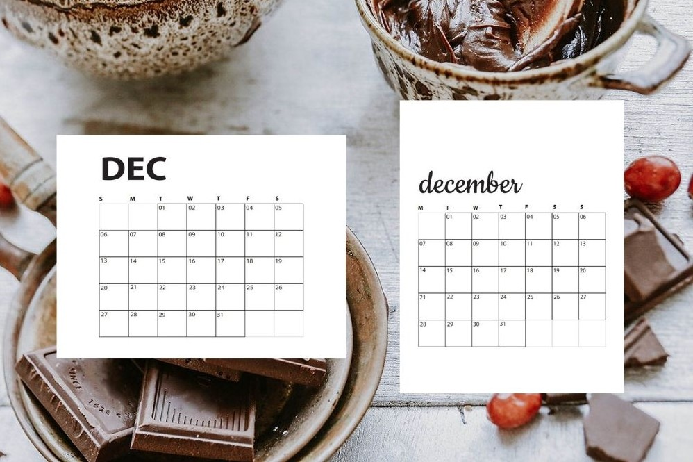 holiday baking bowls and chocolate with December calendars