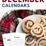 cinnamon rolls on holiday tablecloth with december calendars