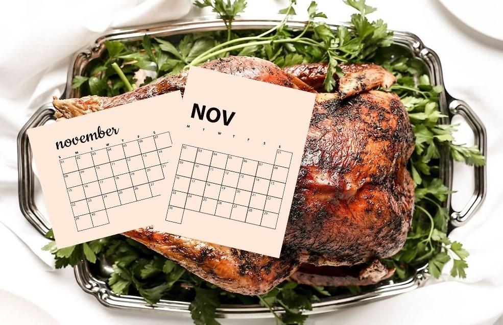 image of Thanksgiving turkey and November calendars