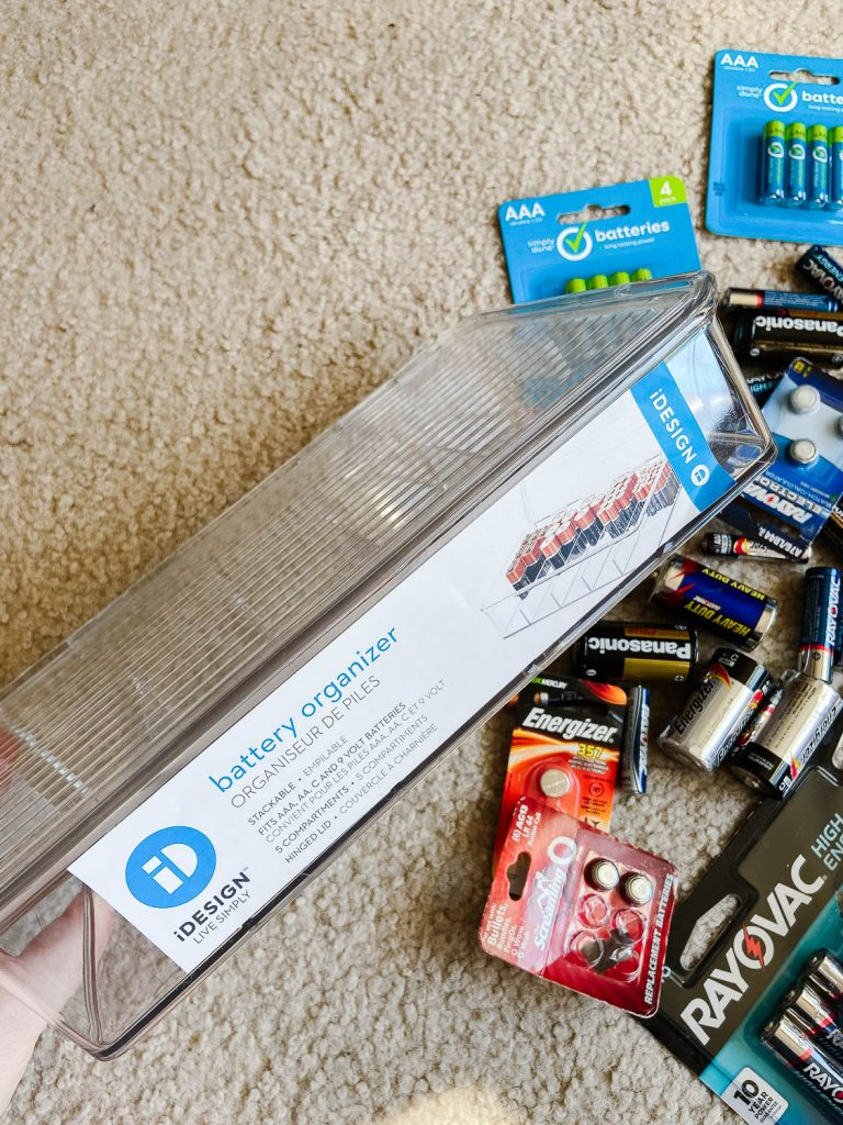 batteries and a battery organizer container