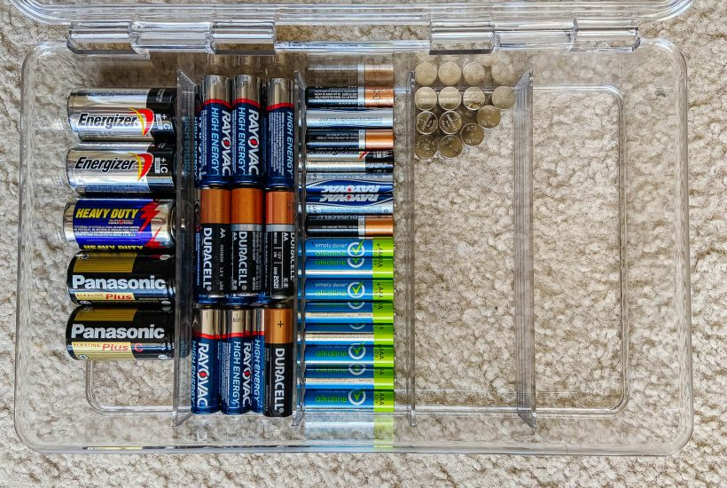 battery container with a variety of batteries