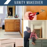 collage of photos of painting a vanity
