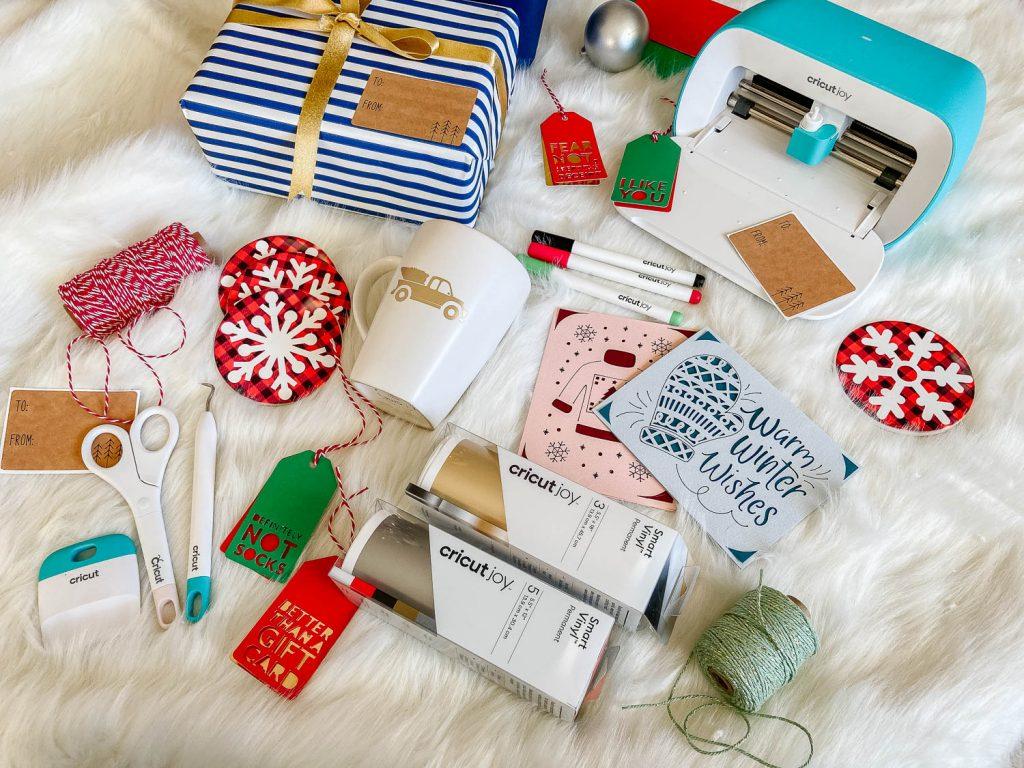 cricut joy with holiday projects flat lay
