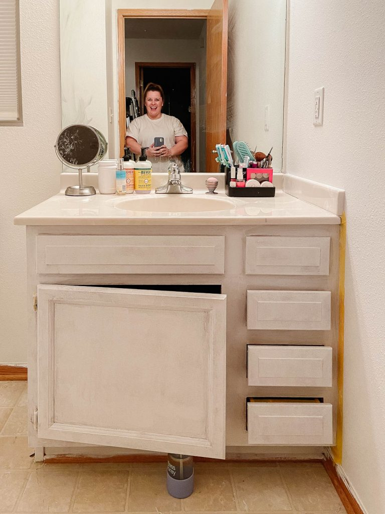 image of bathroom cabinet with primer on it