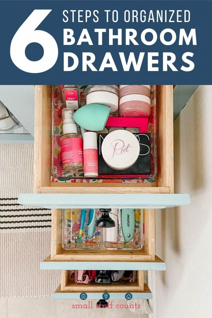 woman's organized bathroom drawers with text