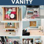 collage of bathroom vanity organization process photos