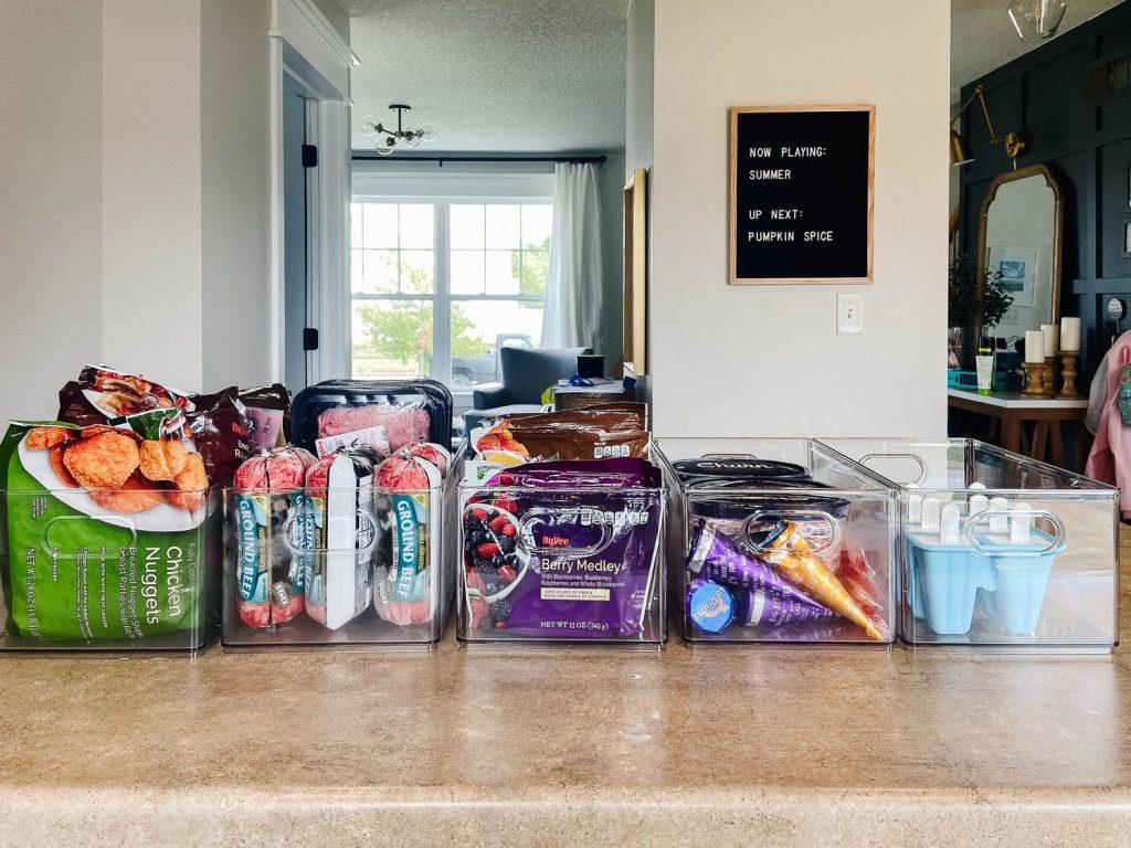 clear bins holding frozen food