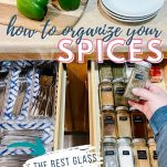 spice and silverware drawers with text overlay