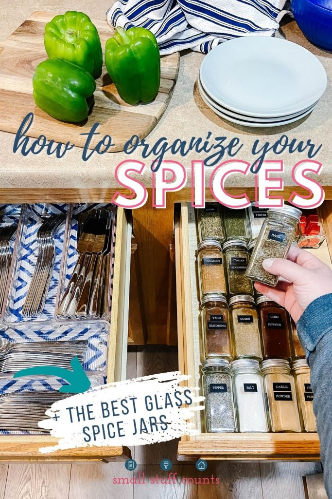 silverware drawer and spice drawer with text overlay