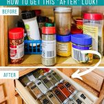 before and after photos of kitchen spice organization