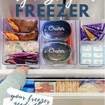 drawer freezer full of food with text overlay