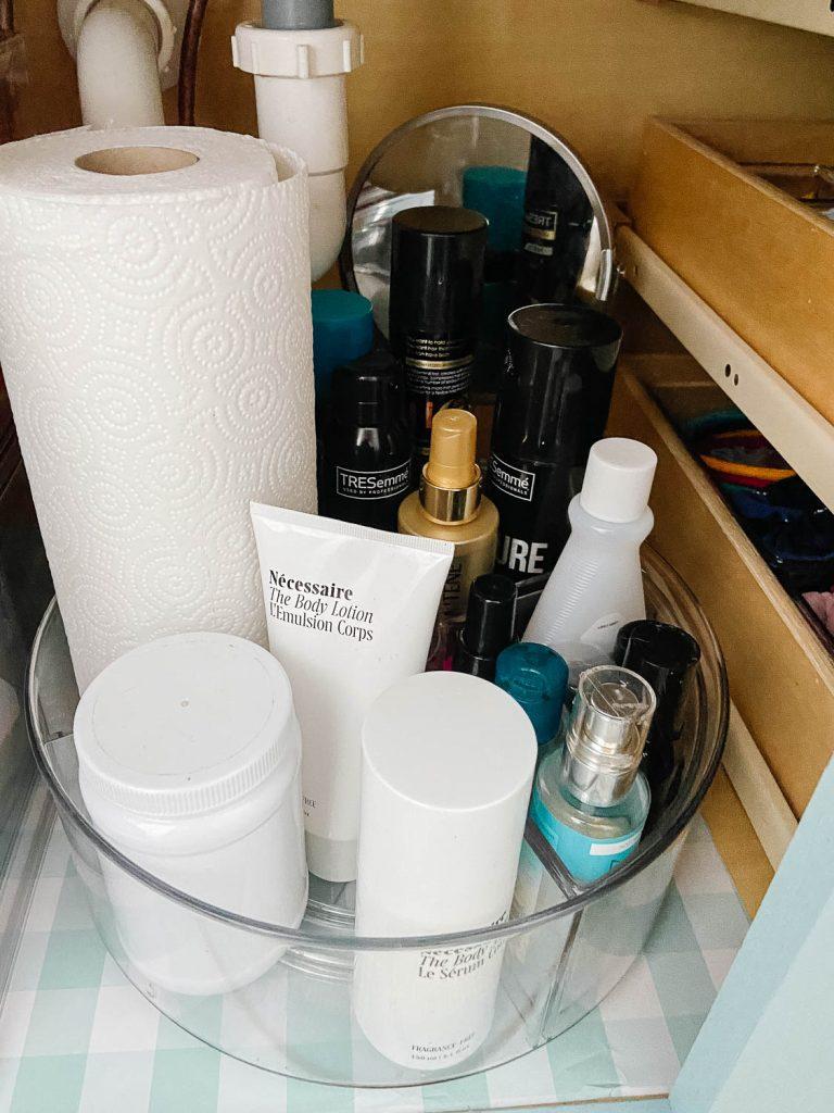 lazy susan organizer in bathroom cabinet