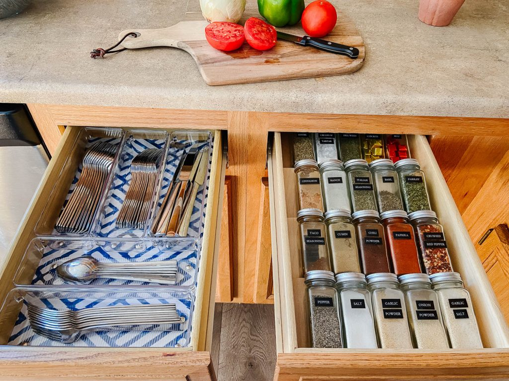 image of organized silverware and spice drawers