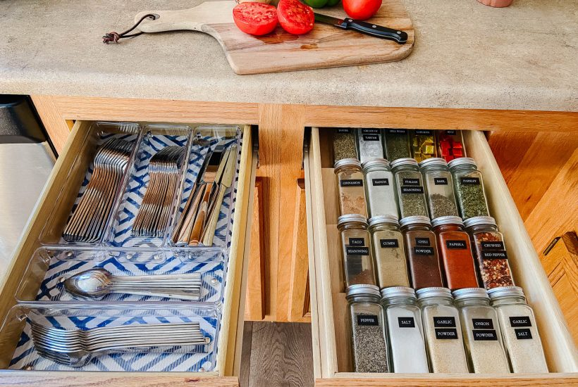 organized spice and silverware drawers