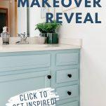 blue bathroom vanity with text overlay