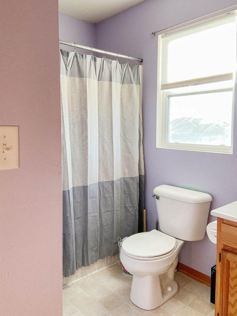 image of bathroom with purple walls
