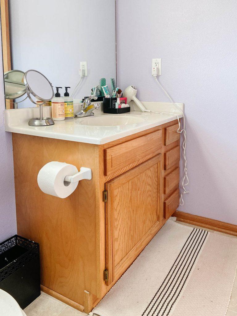 honey oak bathroom vanity