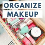 makeup drawer with text overlay