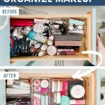 before and after photos of makeup drawers