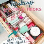 makeup drawer and text overlay