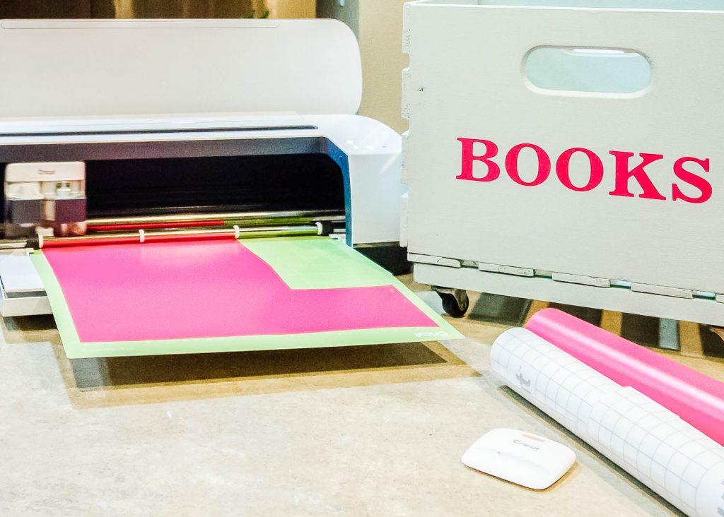 Cricut Maker with DIY book crate