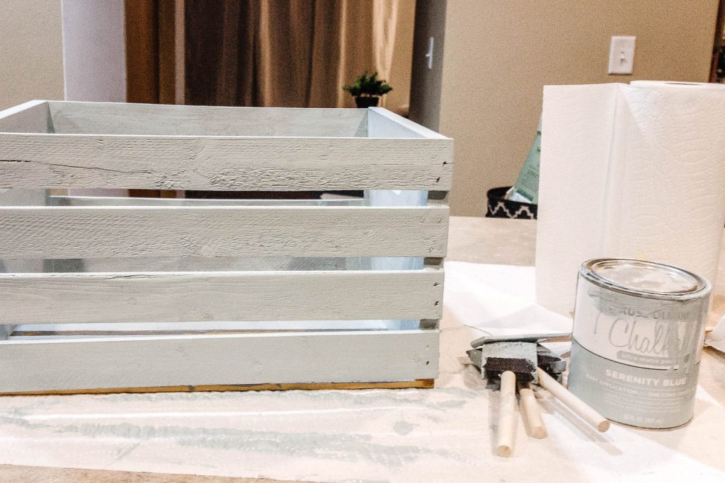 wooden crate painted with chalk paint