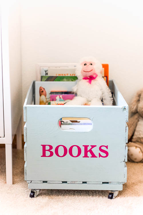 wooden book crate on wheels