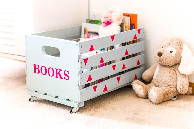 blue book crate in kids' room