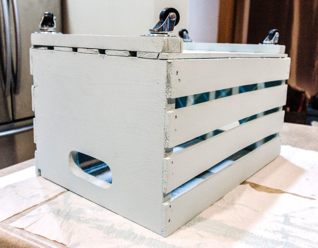 crate with 4 casters attached