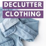 9 Questions to Declutter Clothing text above a jean jacket