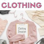 How to Declutter Clothing above a pink sweater with a clothing donation sign