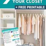 9 questions to declutter your closet +free printable text above a closet with minimal clothing.