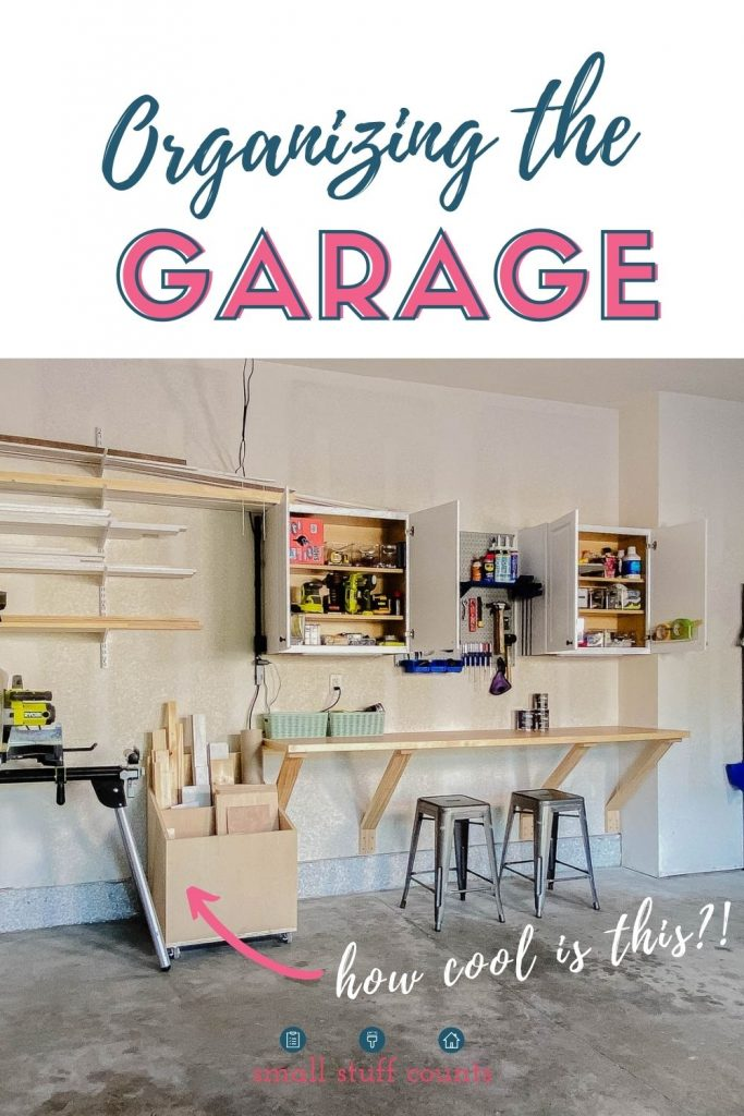 """garage view with counter, stools, lumber, and open cabinets with text """"organizing the garage"""" at the top."""