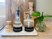A Sink-Side Tray With DIY Soap Bottle Labels (Kitchen Organization Hack)