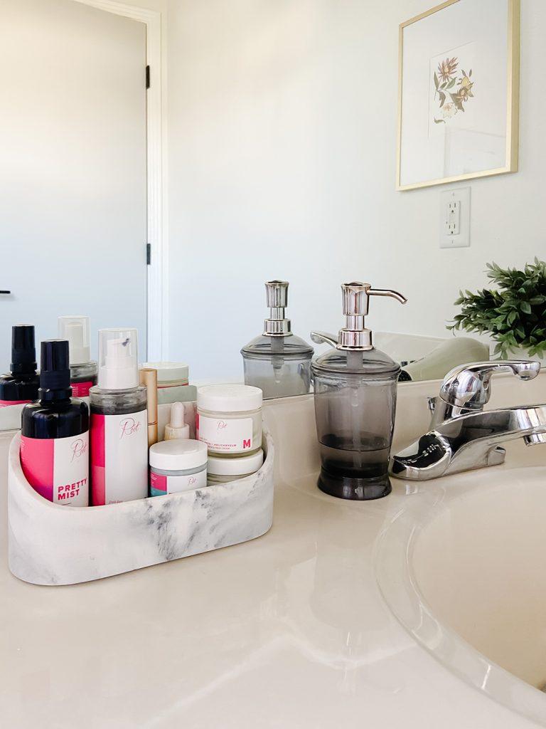 marble organizer on bathroom counter