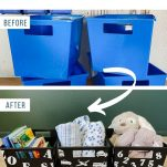 text above before image of blue bins and after image of black painted bins with white vinyl decals
