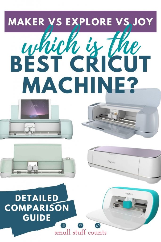 """white background with five different Cricut machines and title text """"Which is the Best Cricut machine? tag line """"Maker vs Explore vs Joy"""" and caption """"Detailed comparison guide"""""""