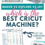 "photos of the Cricut Maker, Cricut Joy, and Cricut Explore with the downloadable comparison guide with text saying ""Maker vs Explore vs Joy Which is the best Cricut machine?"""